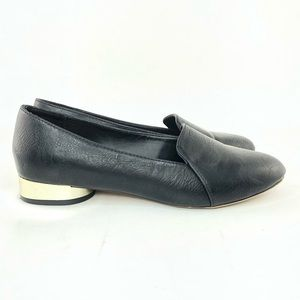 Mix No 6 black faux leather flats gold block heel